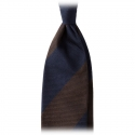 Viola Milano -  Block Stripe 3-fold Grenadine Tie – Navy Brown - Made in Italy - Luxury Exclusive Collection