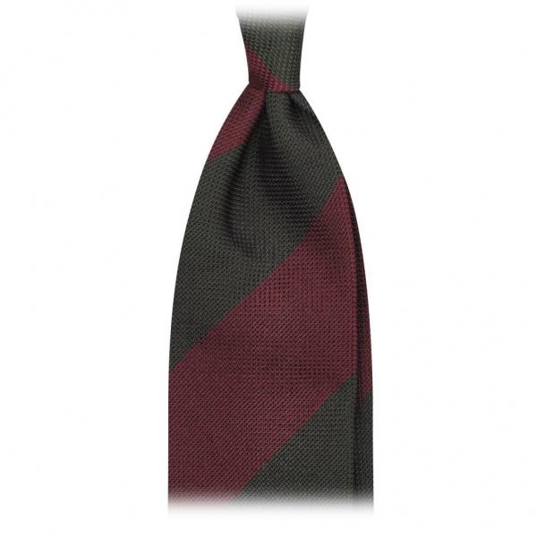 Viola Milano - Block Stripe 3-Fold Grenadine Tie - Wine Forest - Made in Italy - Luxury Exclusive Collection