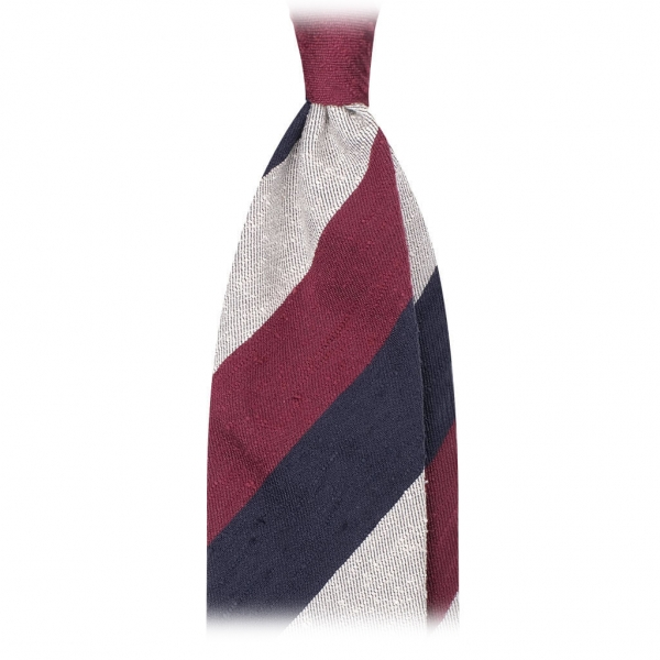 Viola Milano - Block Stripe Handrolled Woven Shantung Tie - Navy Mix - Made in Italy - Luxury Exclusive Collection