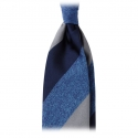 Viola Milano - Block Stripe Woven Silk Jacquard Tie - Denim Mix - Made in Italy - Luxury Exclusive Collection