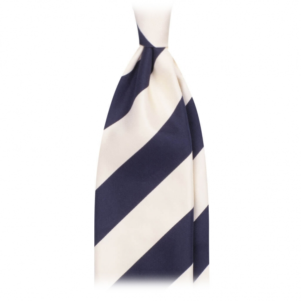 Viola Milano - Block Stripe Handrolled Woven Silk Jacquard Tie - Navy White - Made in Italy - Luxury Exclusive Collection