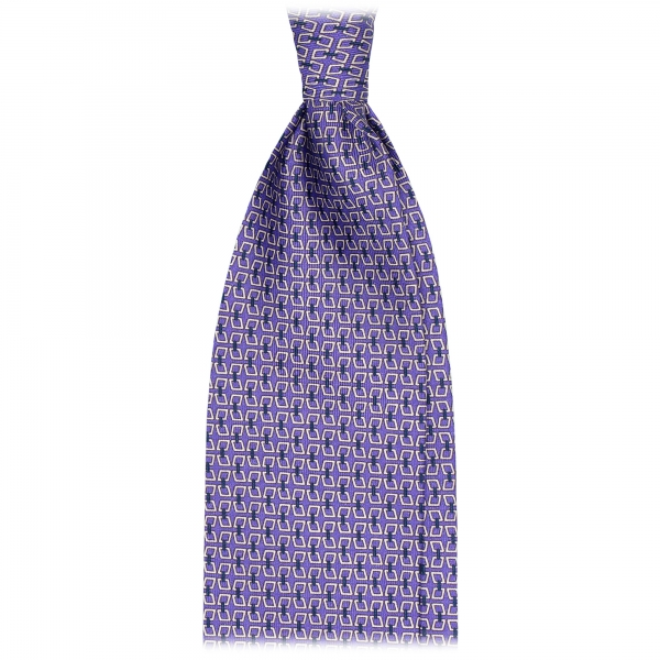 Viola Milano - Chain Lock Selftipped Italian Silk Tie - Violet - Made in Italy - Luxury Exclusive Collection