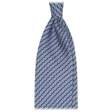 Viola Milano - Chain Maillon Selftipped Italian Silk Tie - Navy / White - Made in Italy - Luxury Exclusive Collection