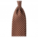 Viola Milano - Circle Printed Selftipped Italian Silk Tie - Brown / White - Made in Italy - Luxury Exclusive Collection