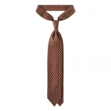 Viola Milano - Circle Printed Selftipped Italian Silk Tie - Brown/ White - Made in Italy - Luxury Exclusive Collection