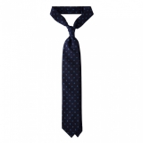 Viola Milano - Circle Printed Selftipped Italian Silk Tie – Navy/ Sea - Made in Italy - Luxury Exclusive Collection