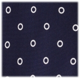 Viola Milano - Circle Printed Selftipped Italian Silk Tie – Navy/white - Made in Italy - Luxury Exclusive Collection
