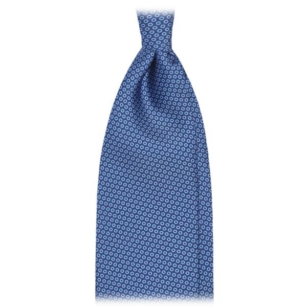 Viola Milano - Classic Circle Selftipped Italian Silk Tie - Navy Mix - Made in Italy - Luxury Exclusive Collection