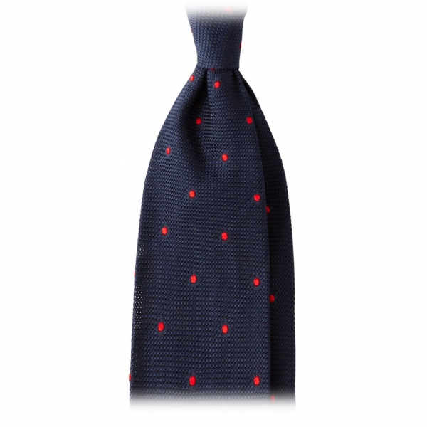 Viola Milano - Classic Polka Dot 3-Fold Grenadine Tie - Navy / Red - Made in Italy - Luxury Exclusive Collection