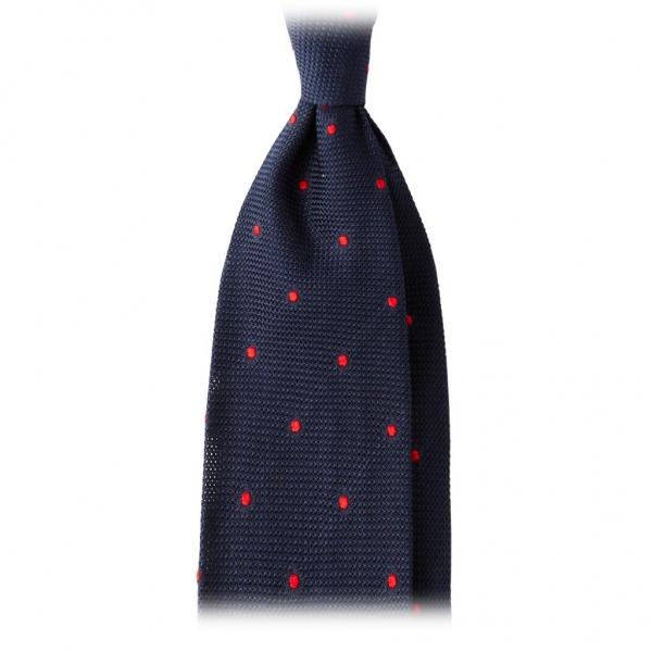 Viola Milano - Cravatta Grenadine 3 Pieghe Classica a Pois - Navy / Rosso - Made in Italy - Luxury Exclusive Collection
