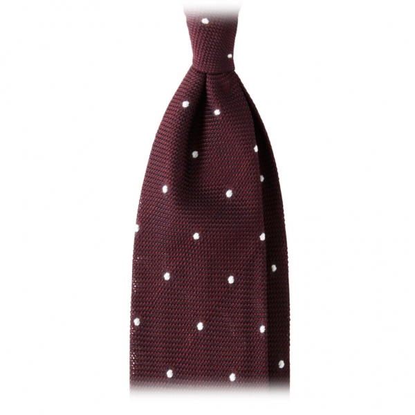 Viola Milano - Classic Polka Dot 3-Fold Grenadine Tie - Wine /  White - Made in Italy - Luxury Exclusive Collection