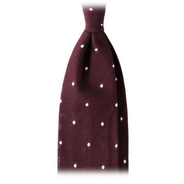 Viola Milano - Cravatta Grenadine 3 Pieghe Classica a Pois - Vino / Bianco - Made in Italy - Luxury Exclusive Collection