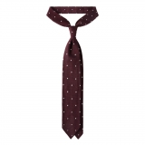 Viola Milano - Classic Polka Dot 3-fold Grenadine Tie - Wine/ White - Made in Italy - Luxury Exclusive Collection