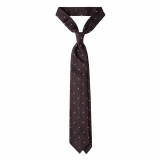 Viola Milano - Classic Polka Dot 3-fold Grenadine Tie - Navy/red - Made in Italy - Luxury Exclusive Collection