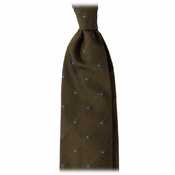 Viola Milano - Classic Polka Dot 3-Fold Grenadine Tie - Olive / Sea - Made in Italy - Luxury Exclusive Collection