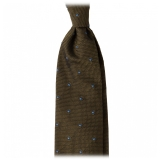 Viola Milano - Classic Polka Dot 3-fold Grenadine Tie - Olive/ Sea - Made in Italy - Luxury Exclusive Collection