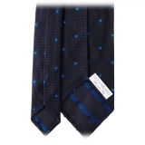 Viola Milano - Classic Polka Dot 3-fold Grenadine Tie - Navy/ Blue - Made in Italy - Luxury Exclusive Collection