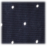 Viola Milano - Classic Polka Dot 3-fold Grenadine Tie - Navy/ White - Made in Italy - Luxury Exclusive Collection
