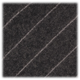 Viola Milano - Classic Shalk Stripe Untipped Flannel Tie - Dark Grey - Made in Italy - Luxury Exclusive Collection