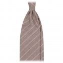 Viola Milano - Classic Shalk Stripe Untipped Flannel Tie - Beige - Made in Italy - Luxury Exclusive Collection