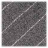 Viola Milano - Classic Shalk Stripe Untipped Flannel Tie - Light Grey - Made in Italy - Luxury Exclusive Collection