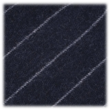Viola Milano - Classic Shalk Stripe Untipped Flannel Tie - Navy - Made in Italy - Luxury Exclusive Collection