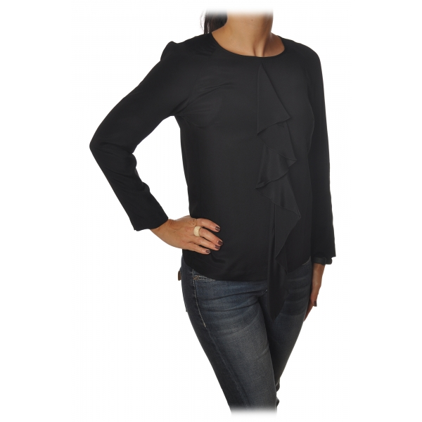 Dondup - Blusa con Rouches - Nero - Top - Luxury Exclusive Collection