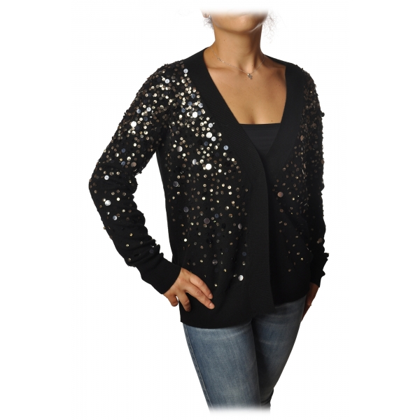 Dondup - Cardigan with Sequins - Black - Knitwear - Luxury Exclusive Collection