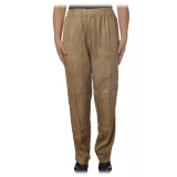 Dondup - Wide Leg Trousers in Delavè Fabric - Beige - Trousers - Luxury Exclusive Collection
