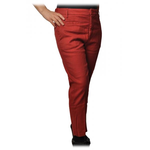 Dondup - Pantalone Gamba Affusolata con Cinturino - Rosso - Pantalone - Luxury Exclusive Collection