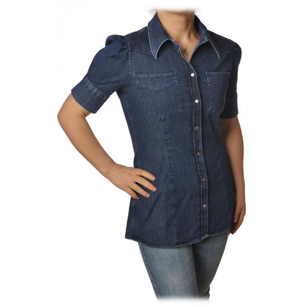 Dondup - Camicia Denim Modello Western - Blue Jeans - Camicia - Luxury Exclusive Collection