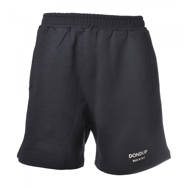 Dondup - Bermuda con Logo in Contrasto - Blu - Pantalone - Luxury Exclusive Collection