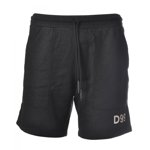 Dondup - Bermuda in Sponge Effect Fabric - Black - Trousers - Luxury Exclusive Collection