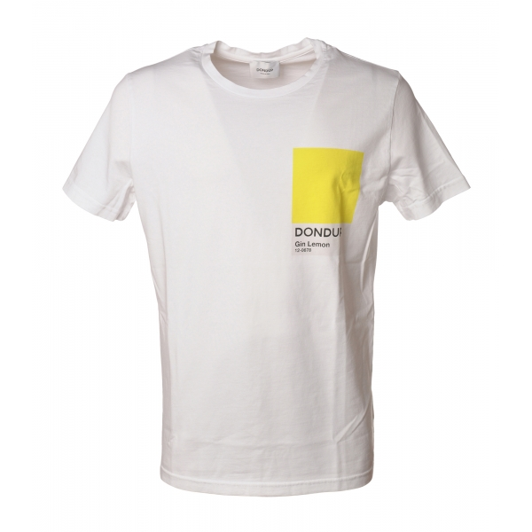 Dondup - T-shirt con Dettaglio Geometrico Colorato - Bianco - T-shirt - Luxury Exclusive Collection