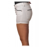 Dondup - Denim Shorts with Contrast Details - White - Trousers - Luxury Exclusive Collection