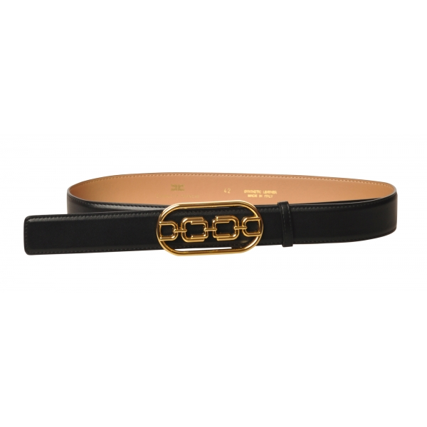 Elisabetta Franchi - Belt in Faux Leather - Black - Belt - Made in Italy - Luxury Exclusive Collection