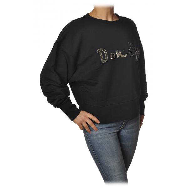 Dondup - Oversized Sweatshirt with Logo - Black - Sweatshirt - Luxury Exclusive Collection