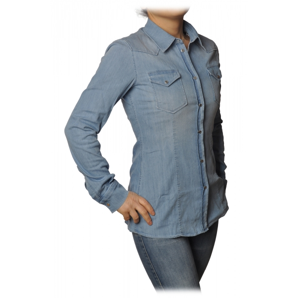 Dondup - Denim Shirt Western Model - Blue Jeans - Shirt - Luxury Exclusive Collection