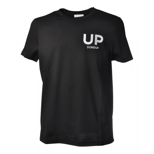Dondup - T-shirt with Contrasting Embroidery - Black - T-shirt - Luxury Exclusive Collection