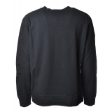 Dondup - Sweatshirt with Logo and Nylon Inserts - Blue - Sweatshirt - Luxury Exclusive Collection