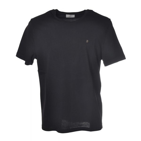Dondup - T-shirt with Metal Logo - Blue - T-shirt - Luxury Exclusive Collection