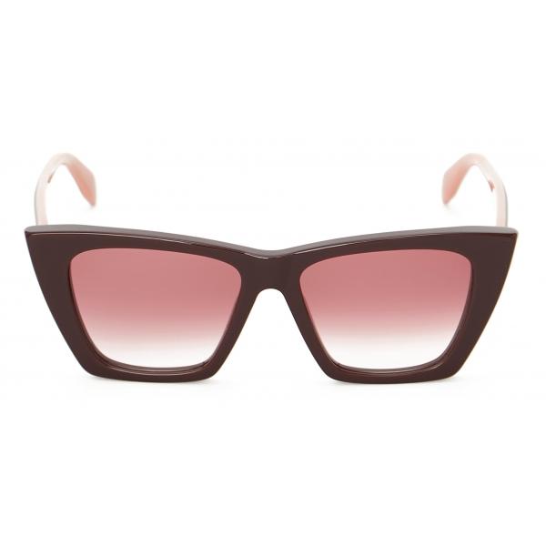 Alexander McQueen - Occhiale da Sole Selvedge Cat-Eye - Bordeaux - Alexander McQueen Eyewear