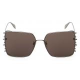 Alexander McQueen - Punk Stud Square Sunglasses - Ruthenium - Alexander McQueen Eyewear