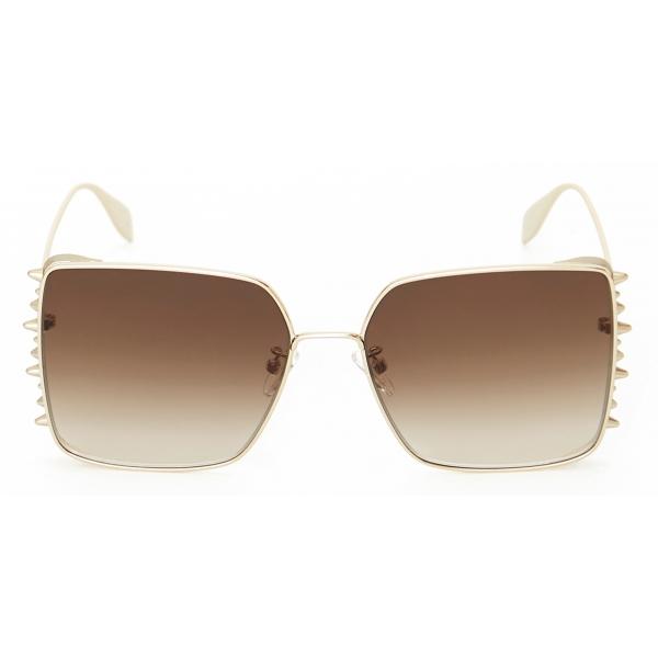 Alexander McQueen - Occhiale da Sole Quadrati Punk Stud - Oro - Alexander McQueen Eyewear