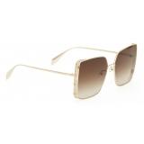 Alexander McQueen - Punk Stud Square Sunglasses - Gold - Alexander McQueen Eyewear