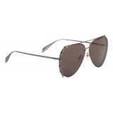 Alexander McQueen - Punk Stud Pilot Sunglasses - Ruthenium - Alexander McQueen Eyewear