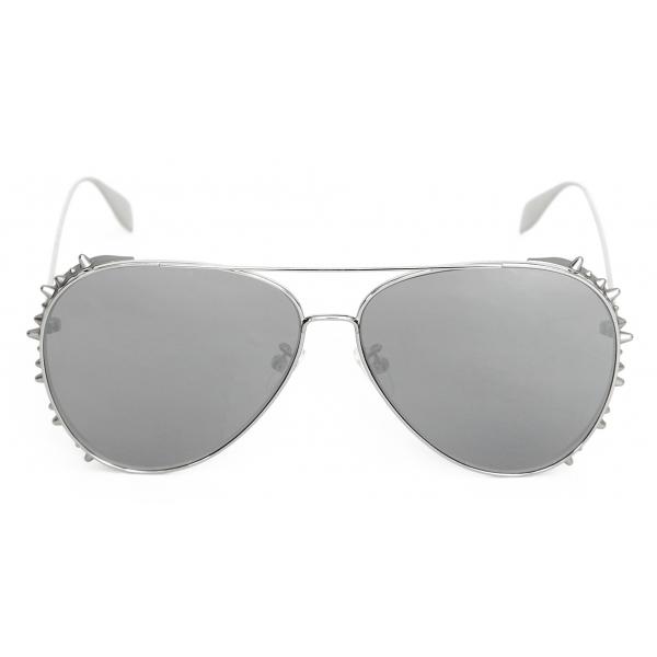 Alexander McQueen - Occhiale da Sole Pilot Punk Stud - Argento - Alexander McQueen Eyewear