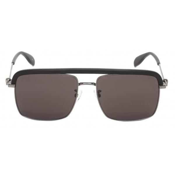 Alexander McQueen - Metal Skull Square Sunglasses - Ruthenium - Alexander McQueen Eyewear
