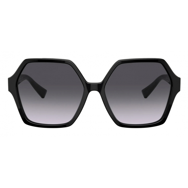 Valentino - Occhiale da Sole Esagonale in Acetato VLogo Signature - Nero - Valentino Eyewear