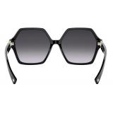 Valentino - VLogo Signature Hexagonal Acetate Frames Sunglasses - Black - Valentino Eyewear